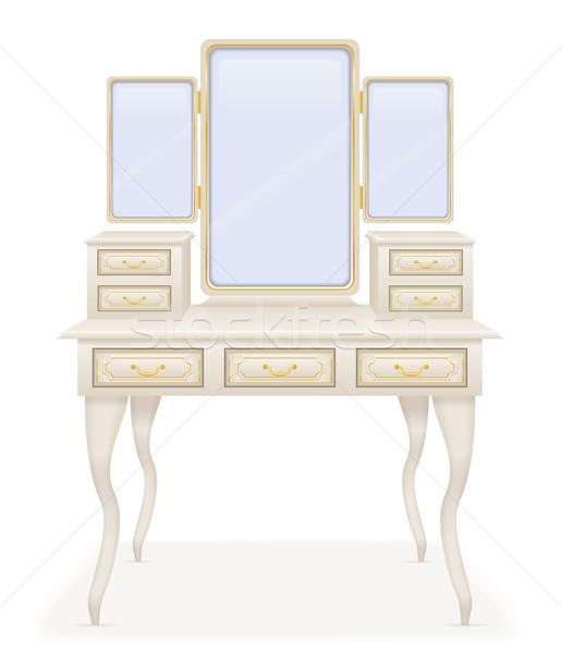 Vaidade tabela velho retro mobiliário vetor Foto stock © konturvid