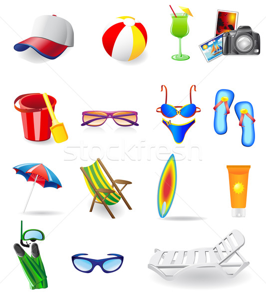 icons set for rest on a sun sea and beach Stock photo © konturvid