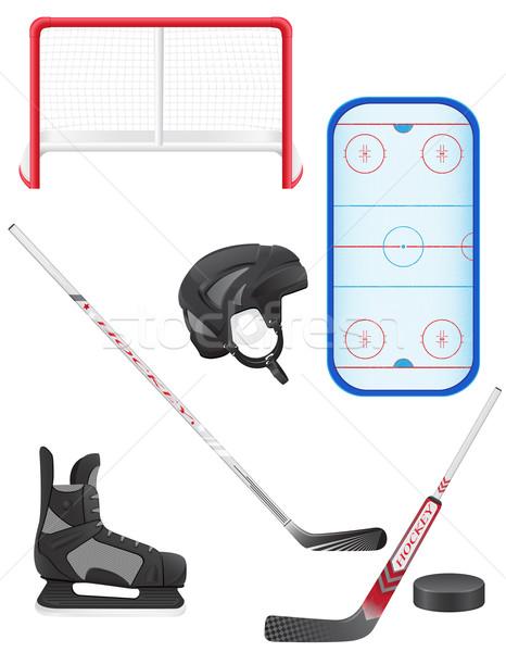 set of hockey equipment vector illustration Stock photo © konturvid