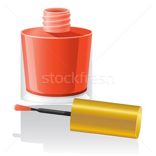 Unha polonês isolado branco mão vidro vermelho Foto stock © konturvid