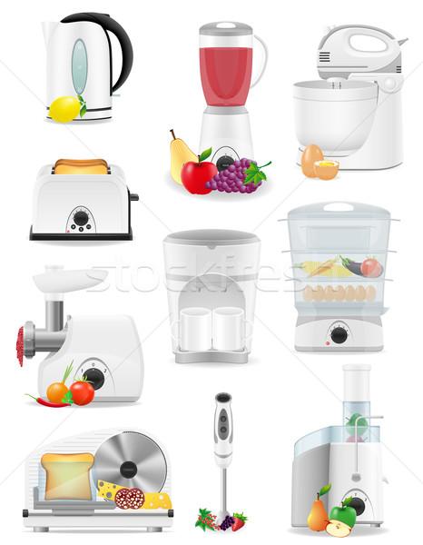 set icons electrical appliances for the kitchen vector illustrat Stock photo © konturvid