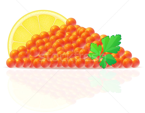 red caviar with lemon and parsley vector illustration Stock photo © konturvid