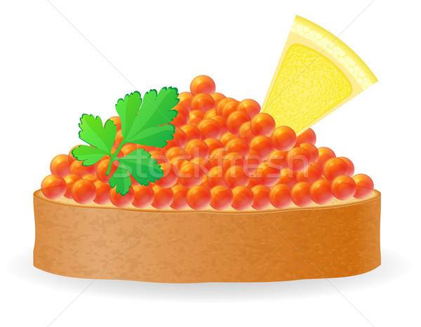 Szendvics piros kaviár citrom petrezselyem izolált Stock fotó © konturvid