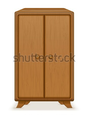 old retro wooden furniture wardrobe vector illustration Stock photo © konturvid