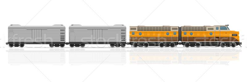 railway train with locomotive and wagons vector illustration Stock photo © konturvid
