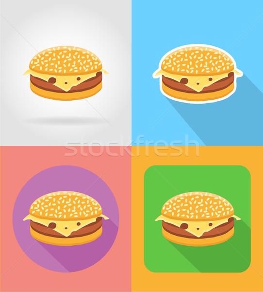 Cheeseburger sanduíche fast-food ícones sombra isolado Foto stock © konturvid