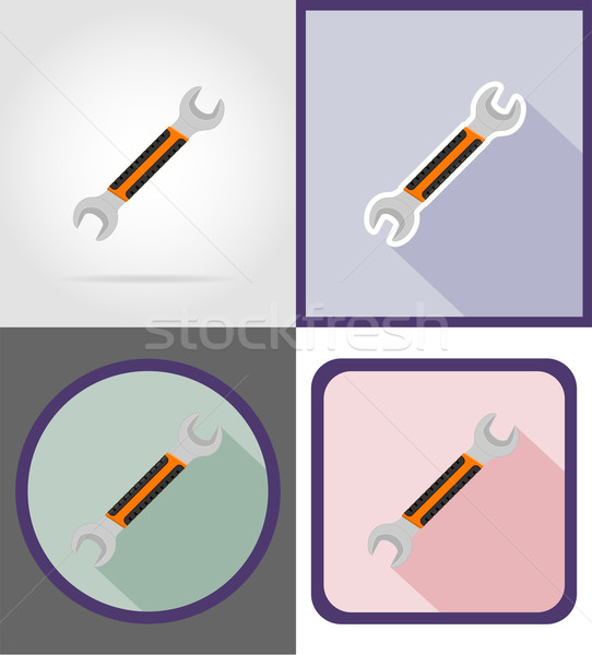wrench repair and building tools flat icons vector illustration Stock photo © konturvid