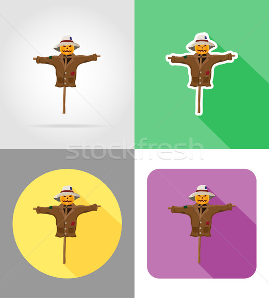 scarecrow straw in a coat and hat flat icons vector illustration Stock photo © konturvid