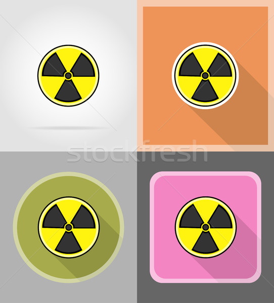 sign radiation flat icons vector illustration Stock photo © konturvid
