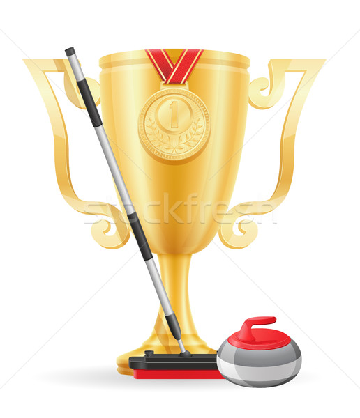 curling cup winner gold stock vector illustration Stock photo © konturvid