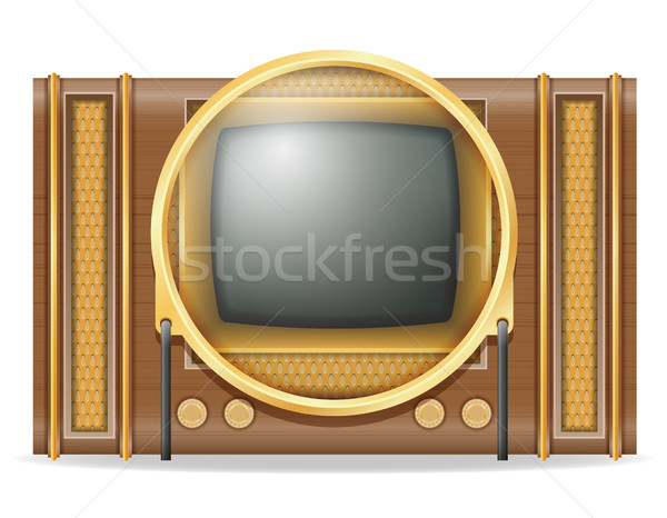 tv old retro vintage icon stock vector illustration Stock photo © konturvid