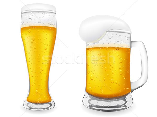 Photo stock: Bière · verre · isolé · blanche · boire · or