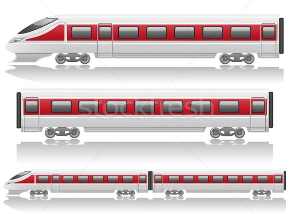 speed train locomotive and wagon vector illustration Stock photo © konturvid
