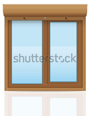коричневый пластиковых окна жалюзи изолированный белый Сток-фото © konturvid
