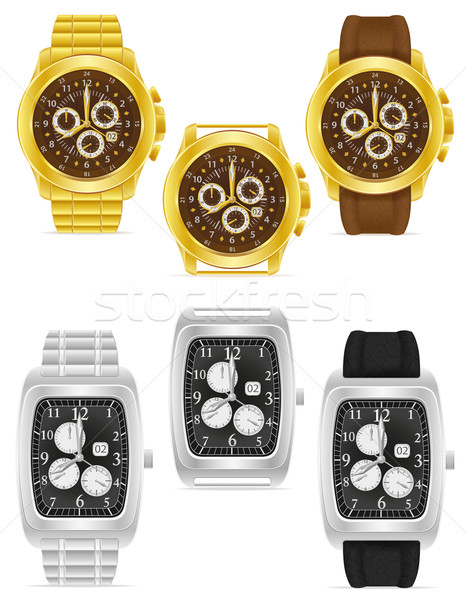 gold and silver mechanical wristwatch vector illustration Stock photo © konturvid