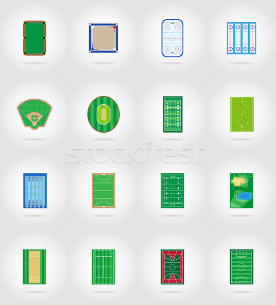 court playground stadium and field for sports games flat icons v Stock photo © konturvid