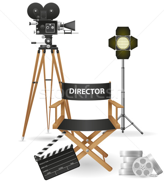 set icons cinematography cinema and movie vector illustration Stock photo © konturvid