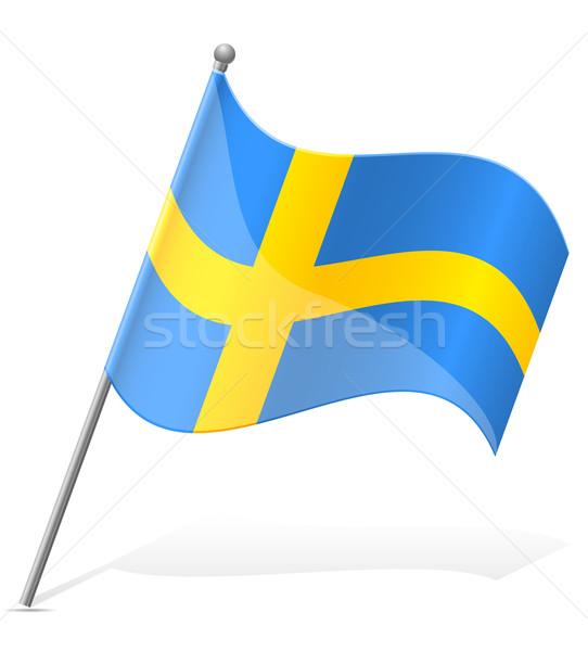Bandiera Svezia isolato bianco mondo pittura Foto d'archivio © konturvid