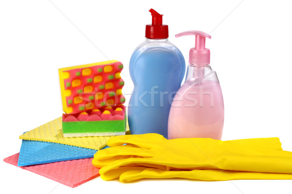 objects for washing and cleaning up on a kitchen Stock photo © konturvid