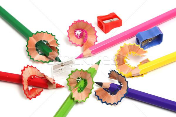 Potloden puntenslijper kleuren scherp geïsoleerd witte Stockfoto © konturvid
