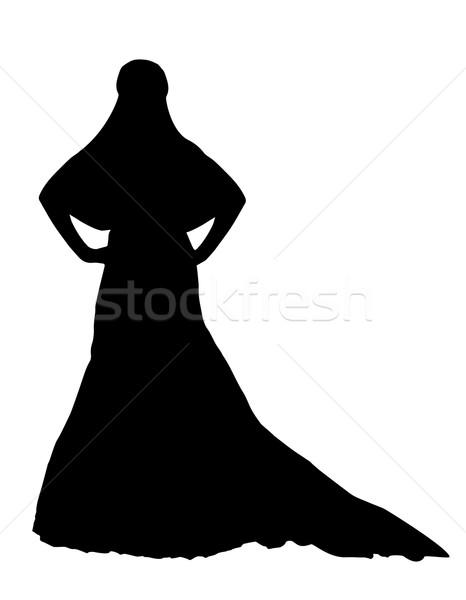 Photo stock: Mariée · réaliste · silhouette · isolé · blanche · famille