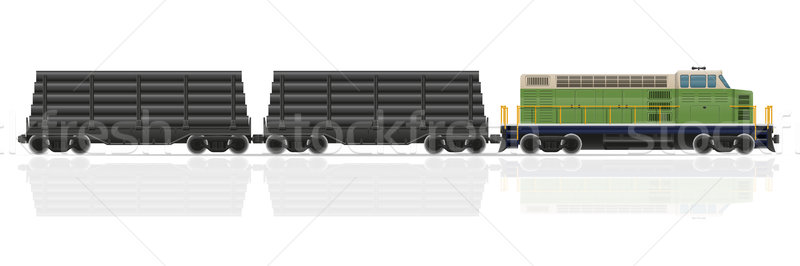 Stockfoto: Spoorweg · trein · locomotief · geïsoleerd · witte · weg