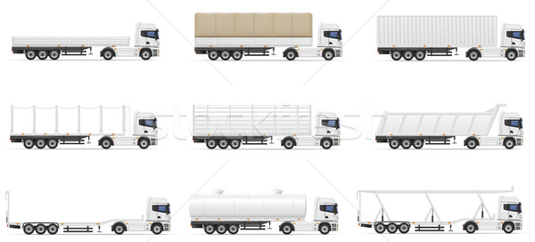 set icons trucks semi trailer vector illustration Stock photo © konturvid