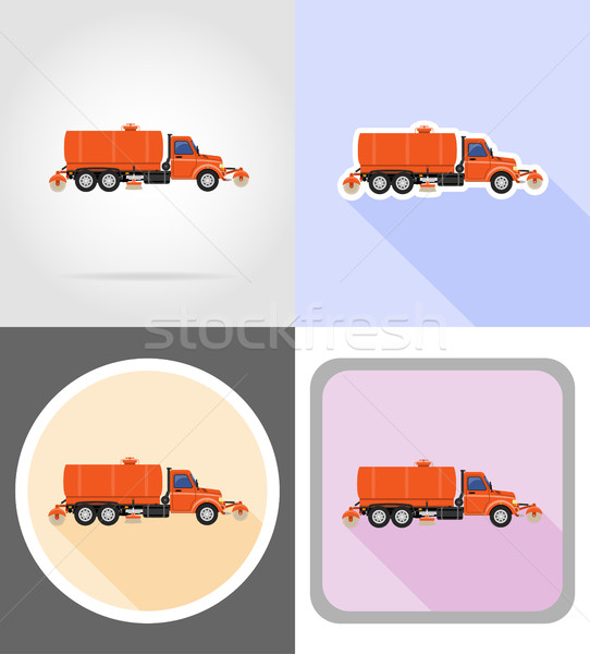 truck cleaning and watering the road flat icons vector illustrat Stock photo © konturvid