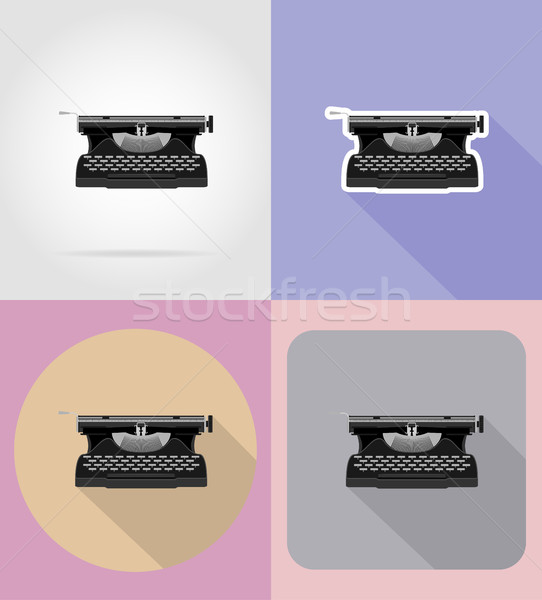 old retro vintage typewriter flat icons vector illustration Stock photo © konturvid