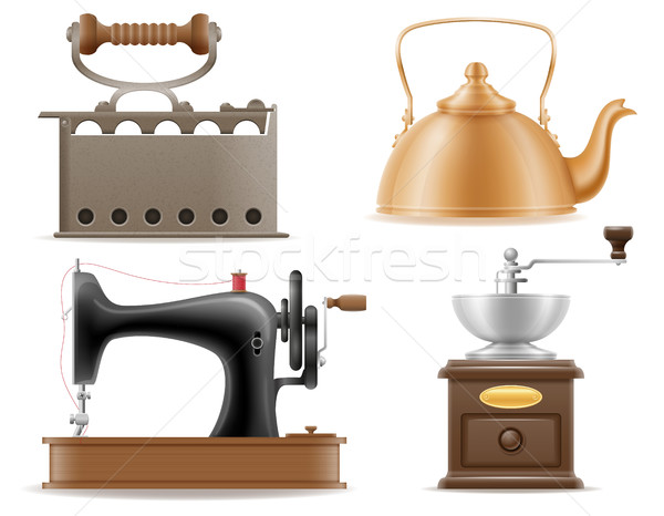 Stock photo: domestic appliances old retro vintage set icons stock vector ill