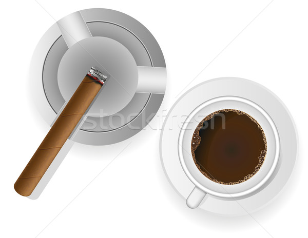 Ardente charuto cinzeiro café isolado branco Foto stock © konturvid