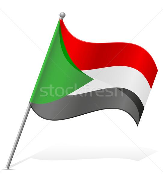 Zászló Szudán izolált fehér földgömb világ Stock fotó © konturvid