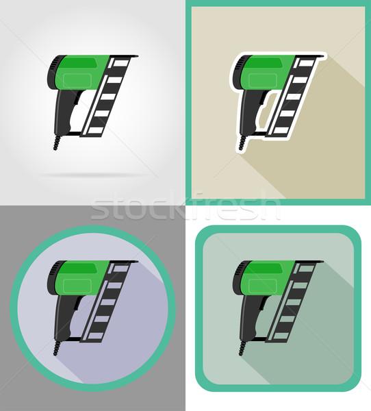 electric nailer tools for construction and repair flat icons vec Stock photo © konturvid