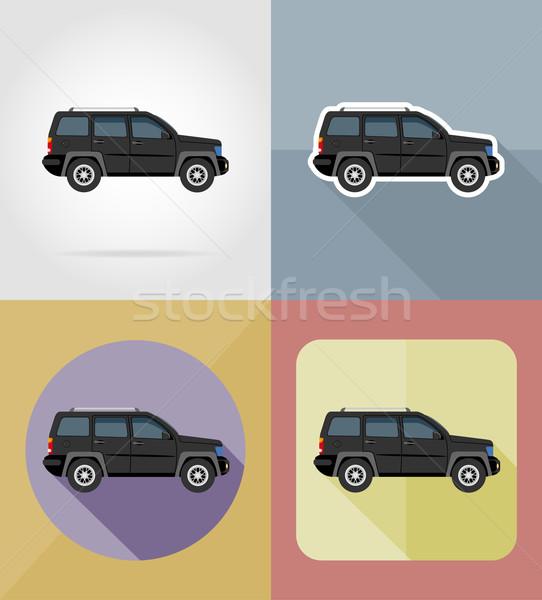 Suv transporte ícones isolado carro porta Foto stock © konturvid
