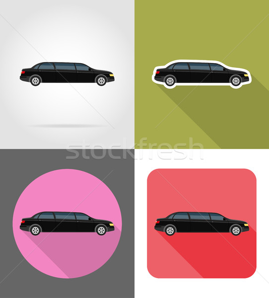 car limousine flat icons vector illustration Stock photo © konturvid