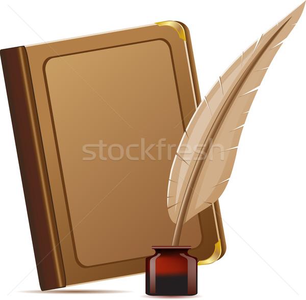 Stockfoto: Boek · veer · zwarte · vintage · nota · achtergronden
