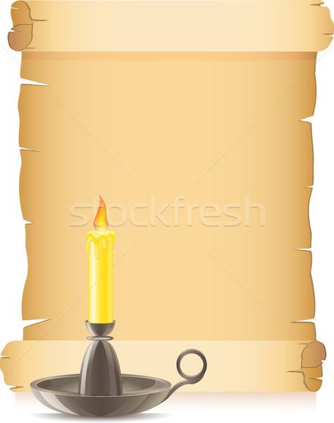 Papel velho vela castiçal fundo arte espaço Foto stock © konturvid