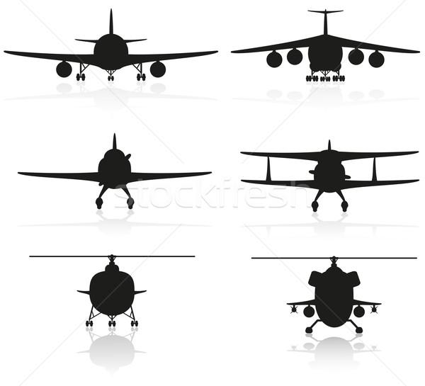 Foto stock: Conjunto · ícones · avião · silhueta · helicóptero · isolado