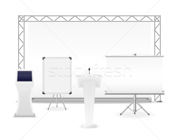 Biały wystawa kompleks prezentacji warsztaty wektora Zdjęcia stock © konturvid
