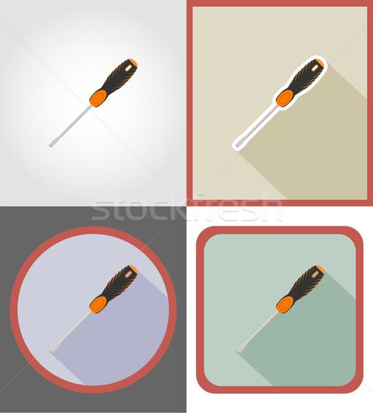 Tournevis réparation bâtiment outils icônes vecteur Photo stock © konturvid