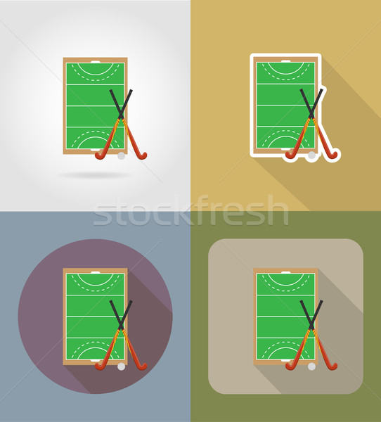 Stock photo: field of play in hockey on grass flat icons vector illustration