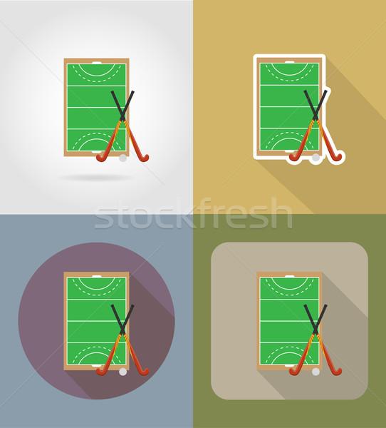 Stock fotó: Mező · játék · jégkorong · fű · ikonok · izolált