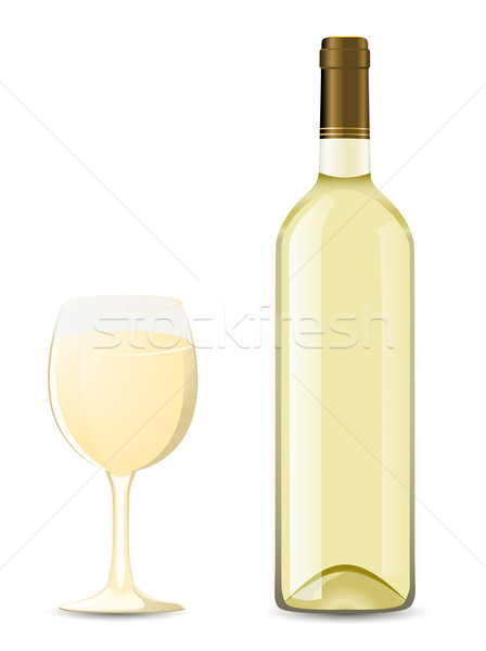 bottle and glass with white wine Stock photo © konturvid