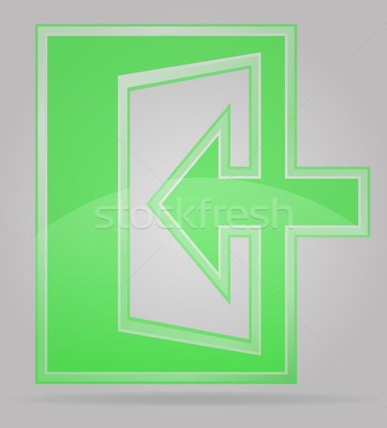 Transparant teken uitgang geïsoleerd grijs groene Stockfoto © konturvid