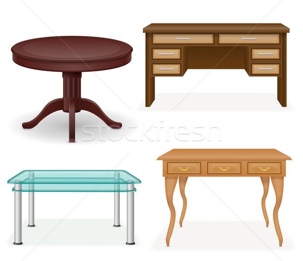 set icons furniture table vector illustration Stock photo © konturvid