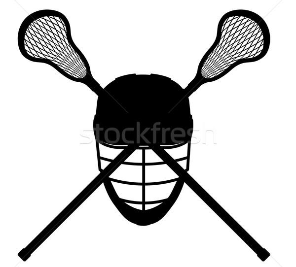 lacrosse equipment black outline silhouette vector illustration Stock photo © konturvid