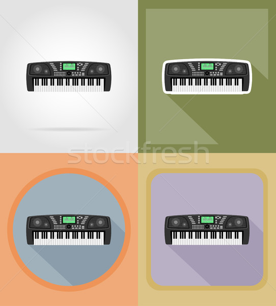 synthesizer flat icons vector illustration Stock photo © konturvid