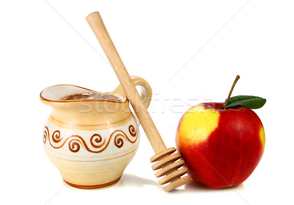 honey in a jug and apple Stock photo © konturvid