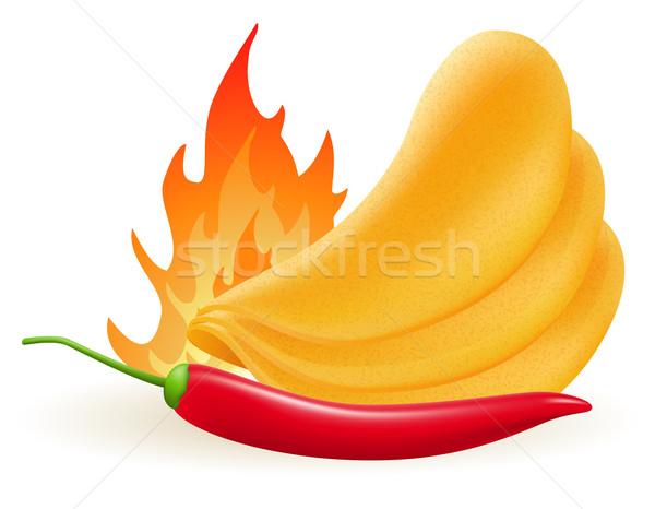 картофельные чипсы горячей Chili изолированный белый Сток-фото © konturvid