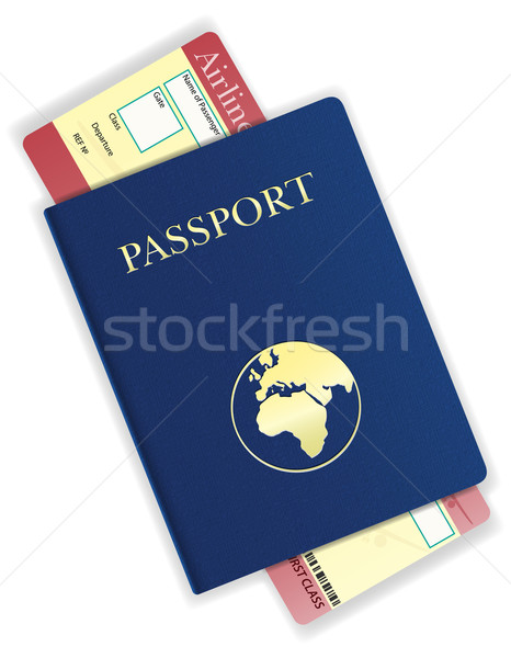 passport and airline ticket vector illustration Stock photo © konturvid
